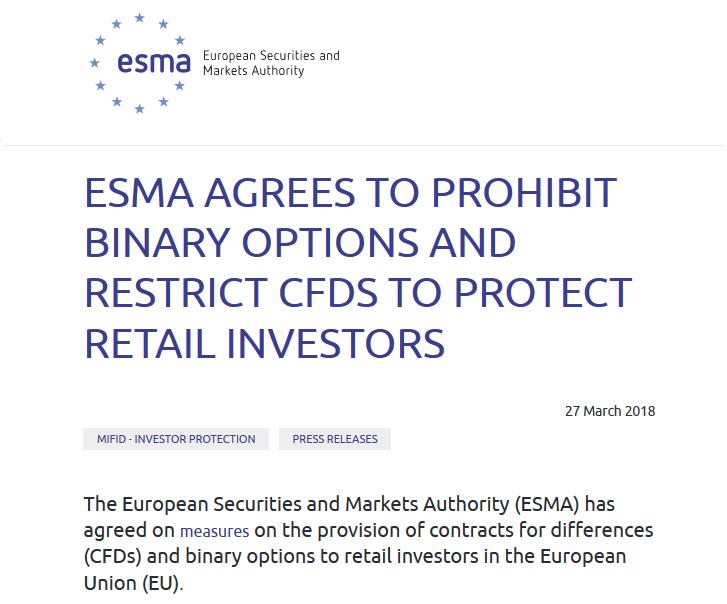 ESMA Bans Binaries