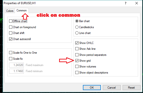 Add or remove the grid in MetaTrader 4